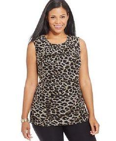 Alfani Sleeveless Pleat Animal Print Stretch Lace Womens Blouse Plus Size 2X NWT #Alfani #Blouse #Casual