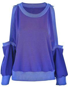 Blue+Off+the+Shoulder+Long+Sleeve+Loose+T-Shirt+US$28.88