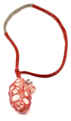 Ela Bauer  _Necklace: Untitled 2010  Silicone, yarn, cotton, copper-net