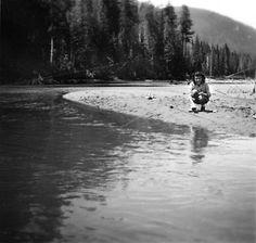 Woman fishing near Diablo Dam, 1953