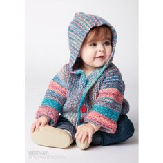Bernat Show Your Stripes Knit Jacket Free Knitting Pattern. Skill Level: Easy Sizes: 6 months, 12 months This fun hooded jacket, knit in Bernat® Softee® Baby Colors™, is stitched in modern and bright shades. Free Pattern More Patterns Like This! Baby Boy Knitting, Knitting For Kids, Double Knitting, Free Knitting, Toddler Sweater, Knitted Baby Cardigan, Knit Baby Sweaters, Baby Sweater Patterns, Baby Knitting Patterns