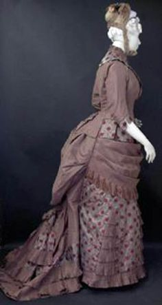 Visiting or reception dress, American, ca. 1875. Fashion History Museum Facebook