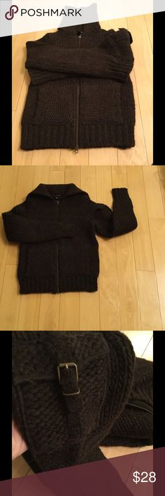 BR heavy wool sweater Hand knitted heavy wool sweater with front zipper, two front pockets, padded elbows and one decorated shoulder pocket on the left arm.  This is a very warm sweater in a size M, but runs like a size S, wore once. Banana Republic Sweaters