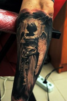 Amazing Angel Silhouette Religious tattoo