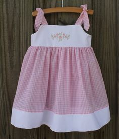Easter gingham embroidery Knot Dress by ScarlettsBoutique on Etsy, $35.00
