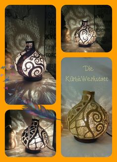 Handmade gourd lamp made by Die KürbisWerkstatt