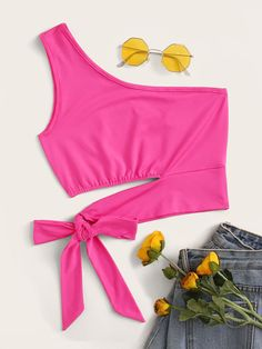 Shop Neon Pink One Shoulder Tie Side Top at ROMWE, discover more fashion styles online.