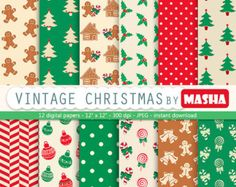 CHRISTMAS DIGITAL PAPER pack, christmas scrapbook paper, christmas digital download for digital scrapbooking, xmas card making, printables