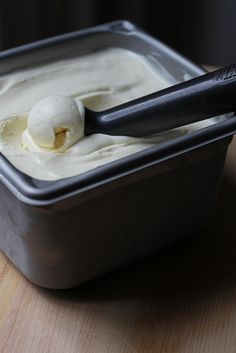 rich buttermilk custard ice cream with a secret ingredient of xanthan gum to keep it scoopable