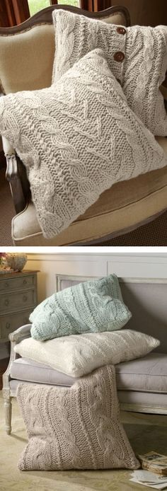 Chunky Cable Knit Pillows ❤︎ #DIY