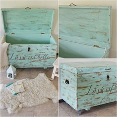 La vida es bella, formato baúl / Vero Palazzo - Home Deco Eco Furniture, Furniture Board, Shabby Chic Furniture, Painted Furniture, Trunk Makeover, Furniture Makeover, Cedar Chest Redo, Painted Trunk, Wooden Trunks