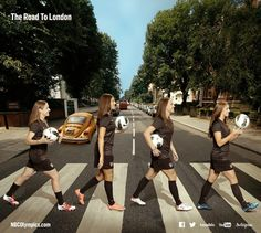 US Women's Soccer Team hits London- soccer player crossing :)