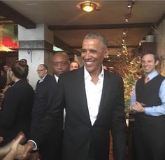 Rested and looking happy after his eight years of presidency. #Linda Lowe