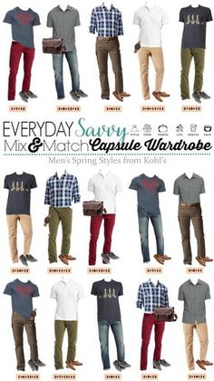 Men's capsule wardrobe for spring with items from Kohls. This includes men's clothing essentials that mix and match and are great for casual wear. #menswear #menstyle #casualstyle via @everydaysavvy