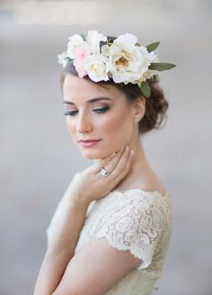 Weddbook ♥ Handmade headpiece ideal for the blushing bride. This floral crown is the perfect adornment for your crowning glory and will look good with almost any ensemble and even a wedding gown  cream floral crown, hair wreath, ivory floral, wedding hair accessory, statement headpiece, costume - New