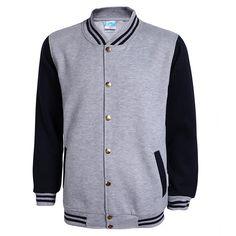 Classic Gray College Baseball Jacket Men/Women 2016 Autumn Mens Fashion Slim Fleece Varsity Jacket Casual Cotton Bombers Jackets #Affiliate