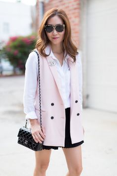 "Styling a long pink vest with a buttondown shirt, pleated skirt and leopard print mary jane flats for a sassy ""schoolgirl"" look! Chanel Outfit, Chanel Chanel, Chanel Bags, Comfortable Outfits, Casual Outfits, Summer Outfits, Chanel Mini Rectangular, Summer Chic, Womens Fashion For Work"