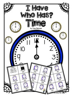 I Have...Who Has Time? A time activity. Your students will have a great time learning to tell time with this 50 page printable packet!  This Math Game Includes:  5 sets of I Have...Who Has? Time cards.  Telling time to the hour Telling time to the half-hour  Telling time to the quarter hour  Tips page that gives you many helpful ideas for using these cards.