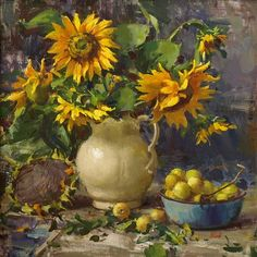 Del Gish, Sunflowers with Yellow Apples oil Fruit Painting, Oil Painting Flowers, Garden Painting, Scale Art, Still Life Flowers, Sunflower Art, Still Life Art, Beautiful Paintings, Painting Inspiration