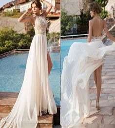 Sexy High Low Sheath Wedding Dresses,High Neck Ivory Lace Appliques Wedding Bridal Dresses,Beach Wedding Dress,Backless Summer Wedding Dresses,Front Split Open Back Wedding Gowns, Hater Bridal Gowns,Custom Made Bridal Dress,Formal Woman Dress
