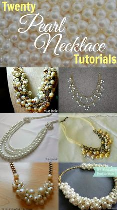 A round-up of Twenty Pearl Necklace Tutorials from My Girlish Whims. #Beading #Jewelry #Tutorials