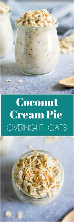 Coconut Cream Pie Overnight Oats means pie for breakfast! These simple overnight oats are packed with goodness and tastes like pie. Overnight Oats, Overnight Breakfast, Healthy Recipes, Cooking Recipes, Delicious Recipes, Healthy Smoothie, Smoothies, Breakfast Recipes, Breakfast Ideas