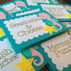 Adorable food labels! I love the creative food names the customer came up with. #etsy #etsyshop #etsyseller #papergoods #blueoakcreations #foodlabel #mermaidparty #firstbirthday #kids #kidsparty #crafts #craftymom