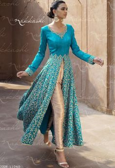 Designer Heavy Embroidered Dark Sky Blue Bhagalpuri silk Heavy Anarkali suit - Designer Suits - Shop By Type - Salwar Kameez Indian Attire, Indian Wear, Indian Outfits, Mode Bollywood, Bollywood Fashion, Indian Fashion Salwar, Indian Anarkali, Anarkali Suits, White Anarkali