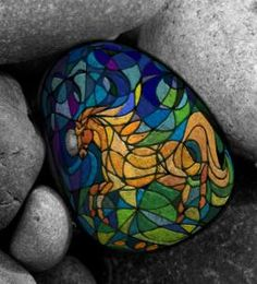 Beautiful stained glass horse painted rock