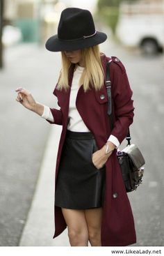 Edgy business, with a splash of color. I like that the burgundy is so deep it almost LOOKS black...does that even make sense?