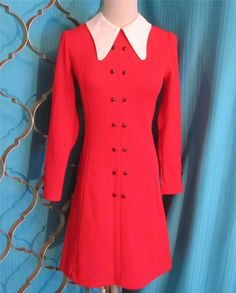 Vintage 1960s Mini Dress by Gay Gibson Fit & Flare Bright Red Size XS-S