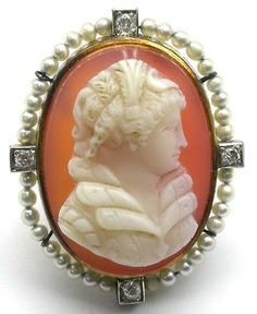 Victorian 14k Yellow Gold Silver Natural Pearls and Diamond Cameo Pin