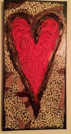 Leopard Print Red Heart Textured Canvas