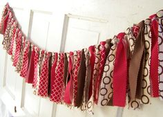 Barn Wedding Garland Red and Brown Banner Cowboy by LiquidStars