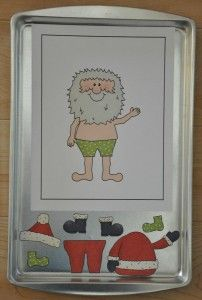 Dress Santa for Christmas Cookie Sheet Activity This would also be fun as à decorate the Christmas tree, build the snowman, a nativity scene, or fill Santa's sleigh. @ decorating-by-daydecorating-by-day Noel Christmas, Winter Christmas, Christmas Themes, Christmas Crafts, Father Christmas, Winter Activities, Toddler Activities, Preschool Activities, File Folder Activities