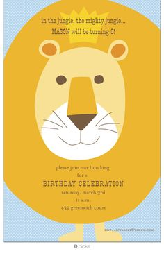 Lion Birthday Party Invitation paper texture by HerringboneDesign