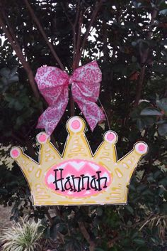 Personalized+Crown+Princess+Door+Sign+Chevron+by+BluePickleDesigns,+$35.00
