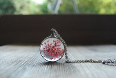 Anne's lace pressed flower necklace  real flower by IskraCreations