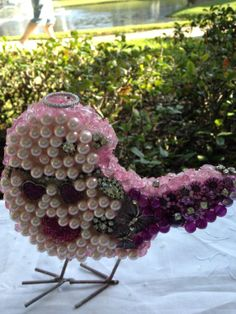 Mosaic Baby Chick With Rhinestones Pearls by Roseantiqueboutique, $29.99 SOLD