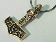 Genuine Bronze Thors Hammer Wolf Head Pendant Necklace Odin Viking Norse Mjollnir .... Key Chain Charm by BUTW. $20.99