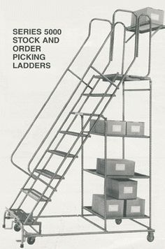 Series 5000 all-welded steel stockpicking safety ladders offer the advantages of a rugged one-piece welded ladder with the versatility of a stockpicking truck. Available in 6 different heights, each unit has two (6-7 step) or three (8-11 step) 24 x 24 heavy gauge steel shelves plus a 24 W x 20 D platform with 10 folding platform workshelf.