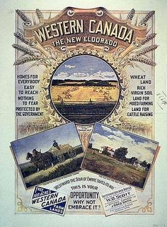 'Western Canada - The New Eldorado' A Beautiful Glossy Art Print Taken From a Vintage Advertising Poster Vintage Advertising Posters, Vintage Advertisements, Vintage Ads, Vintage Posters, Vintage World Maps, Westerns, University Of Victoria, Canadian Things, Immigration Canada
