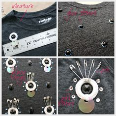 Create this fun, fashionable Embellished T Shirt inspired by Prada. Free tutorial with pictures on how to embellish a t-shirt in under 20 minutes by embellishing with t shirt. How To posted by Cathy A. Art Textile, Bead Store, Black Thread, Textiles, Craft Shop, T Shirt Diy, Diy Clothes, Diy Fashion, Crochet Hooks