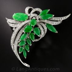 Natural Jadeite and Diamond Brooch, 18K white gold