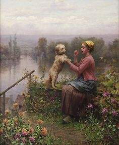 The Lesson by Daniel Ridgway Knight - 22 x 18 inches Signed and inscribed Paris american ex-partiot ex-patriate figurative genre garden
