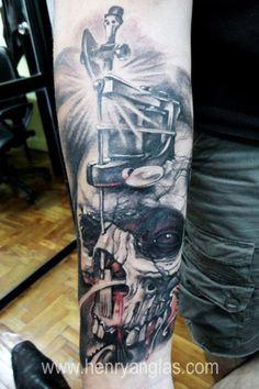 Tattoo Artist - Henry Anglas Padilla | www.worldtattoogallery.com/skull-tattoo