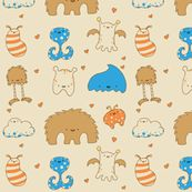 Monster Love by kukubee, click to purchase fabric