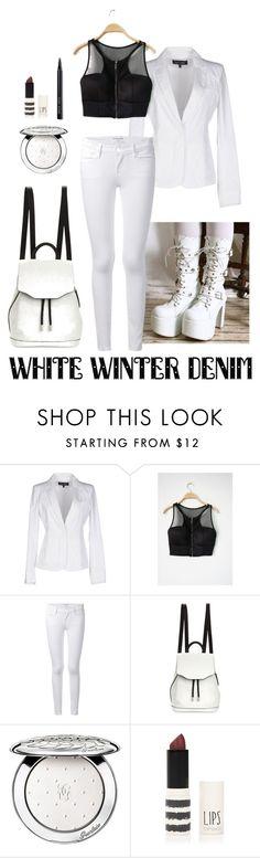 """White winter denim"" by raven-lux ❤ liked on Polyvore featuring Armani Jeans, Frame Denim, rag & bone, Guerlain, Topshop, Bobbi Brown Cosmetics, women's clothing, women's fashion, women and female"