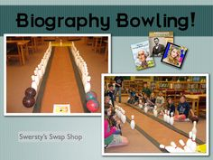Totally going to do it in my library :) Biography Bowling.Could do it for the entire library, not just biographies! School Library Lessons, Library Lesson Plans, Middle School Libraries, Elementary School Library, Library Skills, Elementary Schools, Kindergarten Library, Library Games, Library Events
