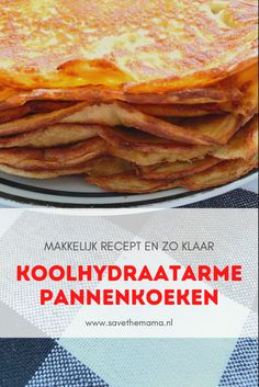 Makkelijk en snel recept voor heerlijke koolhydraatarme pannenkoeken. #koolhydraatarm #koolhydraatarmerecepten #koolhydraatbeperkt #koolhydraatarmdieet #koolhydraatarmrecept Paleo Recipes, Low Carb Recipes, Stevia, Pancakes, Keto, Breakfast, Ethnic Recipes, Diabetes, Drinks